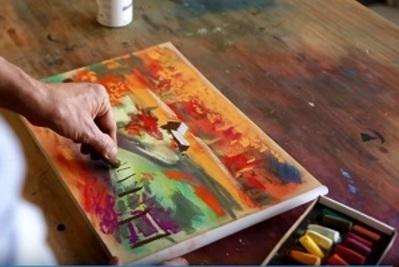 Autumnal Landscape Pastel Painting